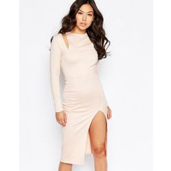 Twin Sister Cut Out Shoulder Midi Dress - Pink