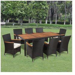 Wiklinowy zestaw ogrodowy 8 krzeseł i stół z drewnianym blatem Zapisz się do naszego Newslettera i odbierz voucher 20 PLN na zakupy w VidaXL!