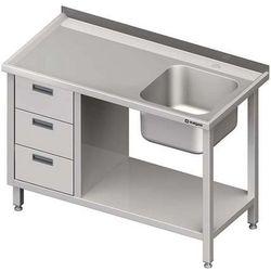 Stół ze zlewem jednokomorowym z trzema szufladami i półką STALGAST 1400x600x850 prawy