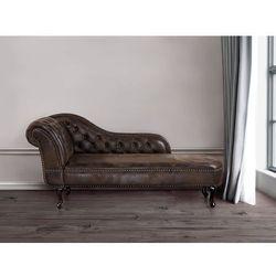 Sofa brązowa - kanapa – szezlong – chesterfield – zamsz ekologiczny - NIMES