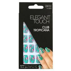 Elegant Touch - Sztuczne paznokcie zdobione z klejem Club Tropicana, 24 sztuki+ klej 2 g