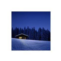 Foto naklejka samoprzylepna 100 x 100 cm - Domek narciarski z oświetlonych okien