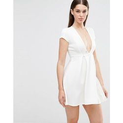 Twin Sister Plunge Front Skater Dress - Cream