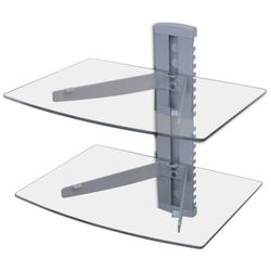 vidaXL Ścienna, szklana półka na płyty DVD, 2 poziomy, srebrna Darmowa wysyłka i zwroty