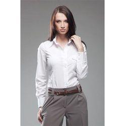 Biała Klasyczna Koszula z Plisami w Kratkę