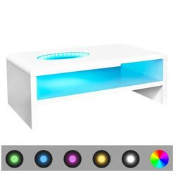 Stolik do salonu, biały, wysoki połysk, LED, 42 cm Zapisz się do naszego Newslettera i odbierz voucher 20 PLN na zakupy w VidaXL!