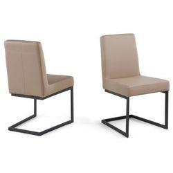 Krzeslo café latte - tapicerowane - do jadalni - do kuchni - czarna rama - ARCTIC