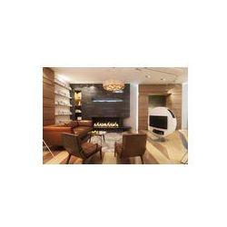 Foto naklejka samoprzylepna 100 x 100 cm - Salon z skórzane kanapy i fotel przy kominku