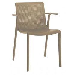 Krzesło ogrodowe z podłokietnikami do restauracji BeeKat Resol kawowe