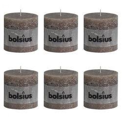 Świece rustykalne, Bolsius x6 (100x100 mm) Taupe Zapisz się do naszego Newslettera i odbierz voucher 20 PLN na zakupy w VidaXL!