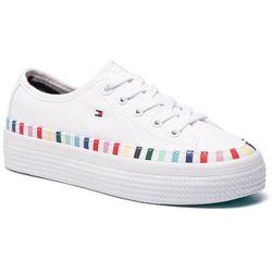 0a2bc37858fd3 Tenisówki TOMMY HILFIGER - Rainbow Flatform Sneaker FW0FW04069 White 100.  eobuwie.pl