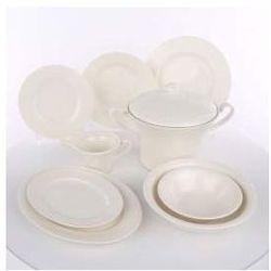 """Zestaw obiadowy dla 12 osób porcelana ecru Karolina Lorel, dekoracja """"Roma"""""""