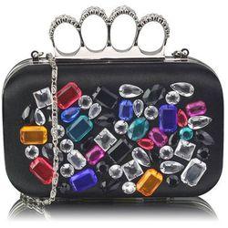 Czarna torebka wizytowa szkatułka z kolorowymi kryształkami - czarny   kolorowy