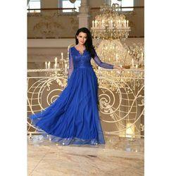 f0188f408c Sukienka MAXI z długim rekawem i koronką - STAR - niebieska Darmowa dostawa