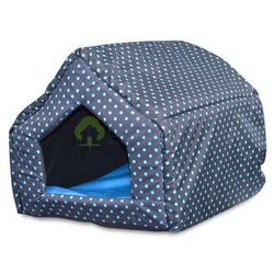 Legowisko domek dla psa kota M niebieskie kropki