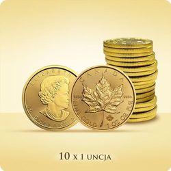 Kanadyjski Liść Klonowy 1 uncja złota x 10