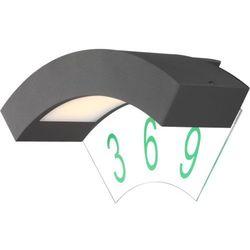 Zewnętrzna LAMPA ścienna BENDER 34281 Globo aluminiowa OPRAWA elewacyjna LED IP54 outdoor z cyframi ciemnoszary