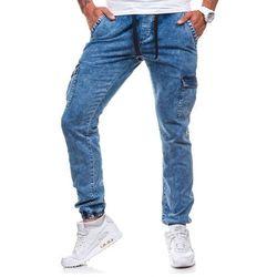 Niebieskie spodnie joggery bojówki męskie Denley 813 - NIEBIESKI
