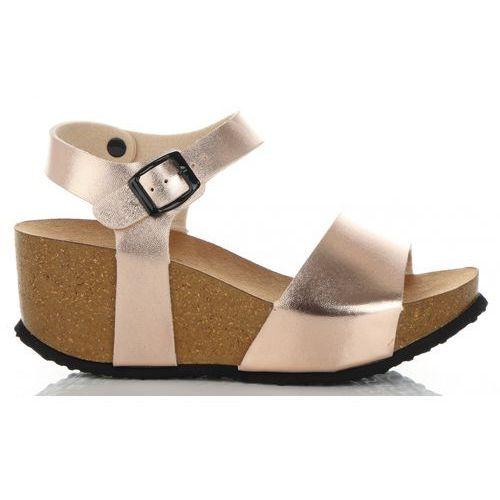 2e59dc69eac57f Modne Koturny Damskie renomowanej marki Ideal Shoes Szampan (kolory ...