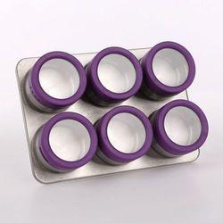 Pojemniki na przyprawy na podkładce magnetycznej - 6 szt.