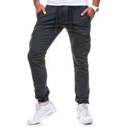 Atramentowe spodnie joggery bojówki męskie Denley 813 - ATRAMENTOWY