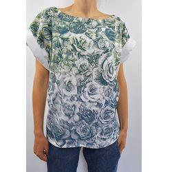 T shirt drukowany-róże-niebieskie
