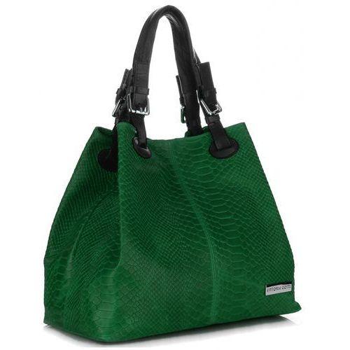 bf12e8393d6a5 VITTORIA GOTTI Włoska Torebka Skórzana wzór Aligatora Zielona (kolory)